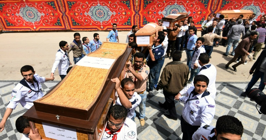 Coptic funeral after ISIS suicide bombing in April 2017